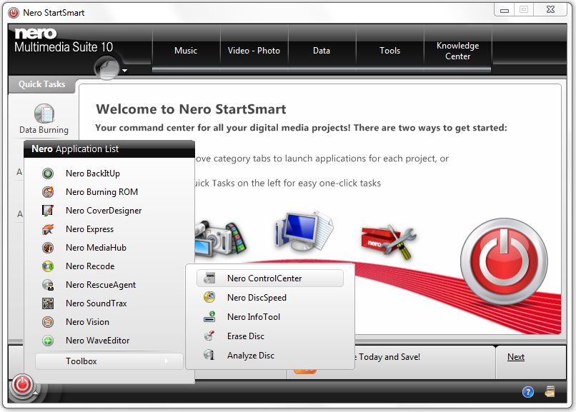 Nero StartSmart , click the Start button , then select Toolbox / Nero