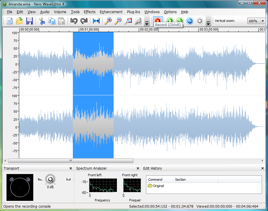 Powerful editing and recording of audio files