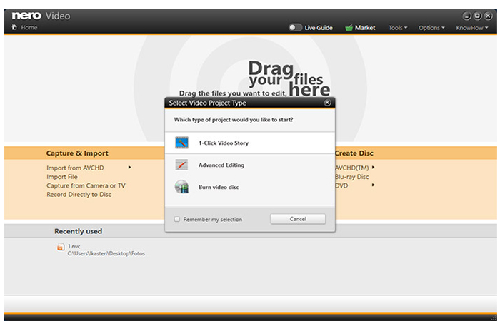 Simply drag and drop your files into the Nero Start drop zone. The practical 1-Click Video Story turns your data into a complete film in no time at all.