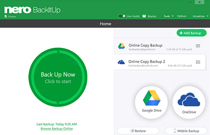 With Nero BackItUp, you now have the opportunity to perform your backups from your OneDrive and Google Drive cloud storage, and to restore your data online from your cloud.