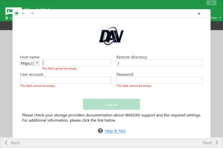 If you are a customer of another WebDAV provider, you can easily add it manually.