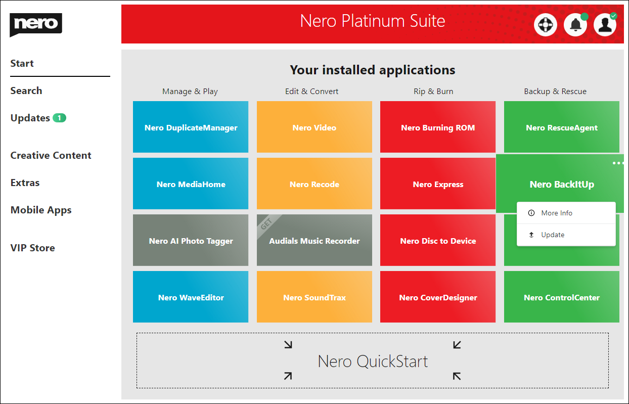 Nero Platinum Suite 2021 screenshot