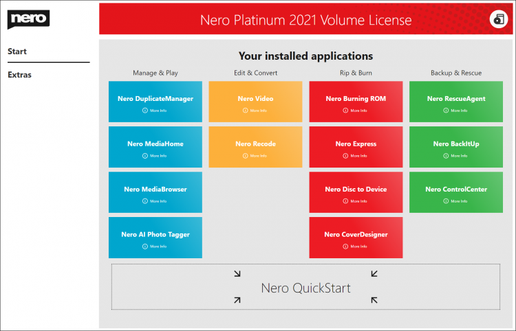 All Nero Platinum 2021 VL applications at a glance.